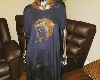 Golden Natural Afro High Low Maxi Shirt