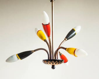 Vintage 1950s/60s Mid-Century Atomic Red Yellow Black 6-Arm Space Age Light Fitting