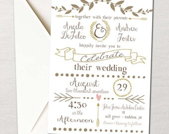 Ribbons & Laurels Wedding Invitation Set ~ DIY PRINTABLE ~ Your choice of custom colors
