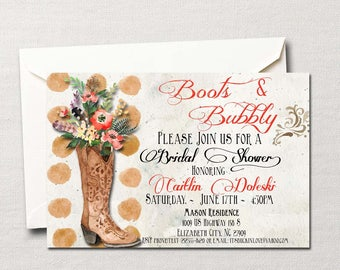 Boots & Bubbly~ Country Western~ DIY Printable Bridal Shower Invitation and Personalized Bride Tribe Logos