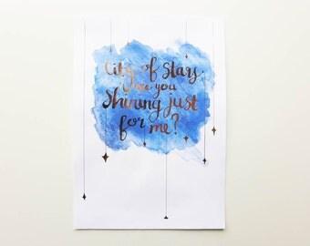 City of Stars Print / La La Land Art / Gold Foil Quote / La La Land Gift / Valentines Gift / Watercolour Print / Nursery Art / Lala Land