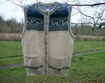 Darling Retro 90s Shetland Wool COWS PICTURES Buttonup VEST, Lg