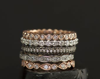 Diamond Eternity Band Stacking Set, Rose & White Gold, Pear and Bubble, Scalloped Band, Milgrain, Right Hand Rings, Wedding Bands, Julia Set