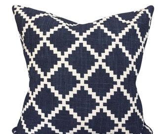 Duralee Blue Trellis LuLu DK Decorative Pillow Cover - Both Sides - 12x16, 12x20, 14x18, 14x24, 16x16, 18x18, 20x20, 22x22, 24x24, 26x26