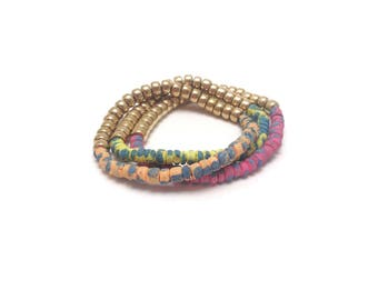 Bright Painted Wood Beads Stacking Stretch Friendship Bracelet Brass Tropical Beach Coconut Set