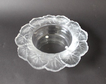 Mid Century Modern Lalique Crystal Honfleur Signed Candy Dish Ashtray 1951