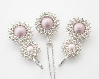Powder rose beadwork earrings and pendant with Swarovski glass imitated pearls