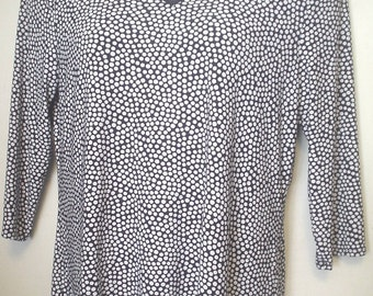 Vintage Women's Susan Lawrence Navy White Polka Dot Stretchy Knit Top Shirt Keyhole Neckline Size XL Career Mix N Match Nice Casual EC BIN