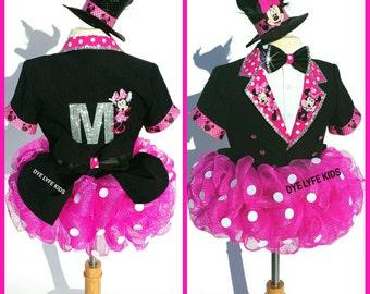 Magical MINNIE MOUSE TUX Qtu, Disney, Pageant, Ooc, birthday, blazer, tuxedo, skirt, tutu, jacket, bow tie, shirt, polka dot, costume