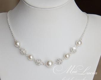 Bridal pearl necklace, for bride, Wedding Jewelry, Wedding Necklace, Bridal necklace, Bridal Jewelry, Pearl Jewelry for Bride, art.241