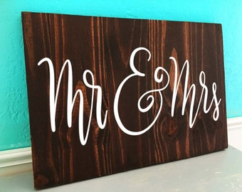 Mr and Mrs | Wedding | Hand Lettered Wooden Sign
