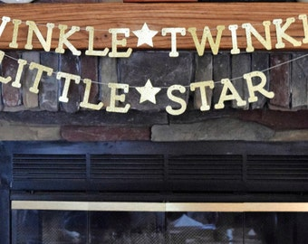 Twinkle Twinkle Little Star Banner, Gold Glittered Twinkle Banner, Baby Shower, 1st Birthday, Photo Prop, Nursery Decor, Gender Reveal