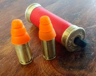 Bullet Ear Plugs 40 caliber. Functional bullet jewelry. Reusable hearing protection.Great gift for hunter, military, shooter or shop worker.