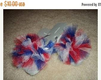 Patriotic tulle puff flip flops