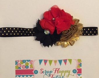 Red, Black, and Gold Flower Headband