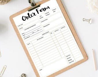 INSTANT DOWNLOAD | Small Business Mini Order Forms | SIZE 5X7 | 2 order forms per printable sheet
