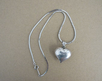 Vintage Silver Puffy Heart Pendant and Napier Silver Chain
