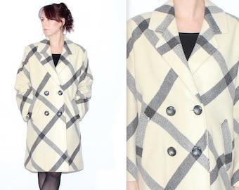 Vintage 1990's Cream Grey CHECKED OVERSIZED Button Up Winter Coat Size Medium Large