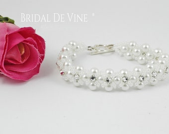 Beautiful Sparkly Bridal Wedding Bracelet - Diamante with CRYSTALLIZED™ - Swarovski Elements