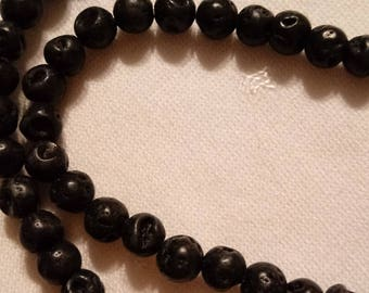 6mm Black Pitted Stone 15 Inch Strand