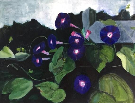 "Original Oil Painting: Morning Glories, 2014, 32"" w x 24"" h"