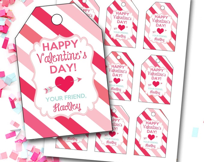Valentine's Day Tag, Girl Valentine's Tag, Hearts Valentine's Tag, Heart Tag, Personalized Valentine's Tag, Party Favor Tags, DIY Printable