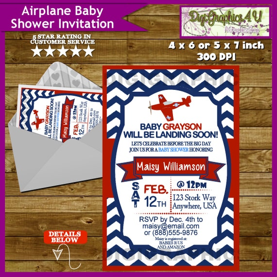 airplane plane baby shower invitation printable personalized file