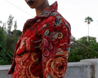 RESERVED! Vintage Tapestry Blazer * Floral Jacket * Fall & Winter * Gender Neutral * Boho * 60's * Size Small / Medium