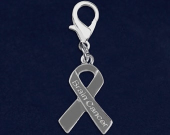 25 Brain Cancer Gray Ribbon Hanging Charms (25 Charms) (HC-29-7BC)