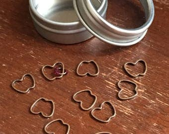 Apple Sock Knitting Stitch Markers In Small Tin