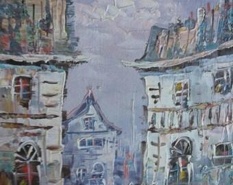 Vintage Old French Impressionist Landscape Oil Painting Artist Signed Framed Art