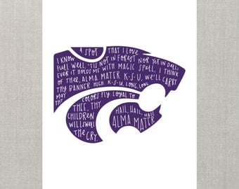 K State Wildcats Wall Art // ART PRINT //  Home Decor, Wall Art, College Decor, Christmas Gift