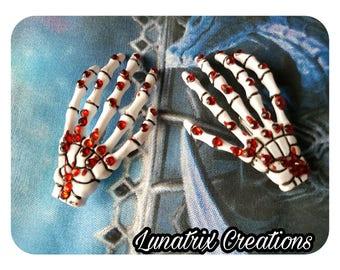 Skeleton Hands Blood Splattered Hair Clips Rhinestones Goth Horror New Unique Handmade