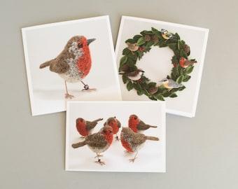 Bird greetings cards 3-pack - crochet bird art sculptures - birthday, Christmas, notecards