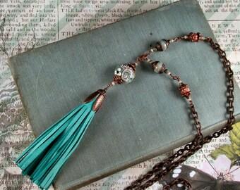 Boho, Shabby Chic, Turquoise Tassel, Copper, Lamp Work Bead, Assemblage