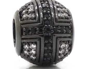 New Black Cross Beads,Silver European Charms Beads,Micro Pave Black CZ Large Hole Metal Beads For Pandora & Chamilia Style Bracelets Making
