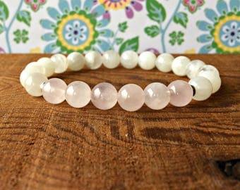 Moonstone & Rose Quartz Fertility Bracelet, Healing Fertility Jewelry Moonstone Jewelry, Pregnancy, Most Popular Healing Fertility Crystals!