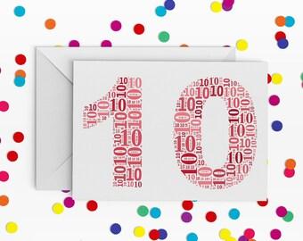 10 Birthday Card, Number Ten Card, Tenth Wedding Annniversary Card, 10th Birthday, Happy Birthday Card, 10th Birthday Card, Card for Girl