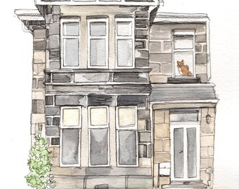 Personalised Watercolour House Portrait