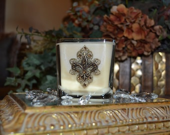 Medium 14oz Old World Tuscan Embellished Double Wick Soy Candle w/Antique Gold Fleur de Lis and Swarovski Crystal Accents