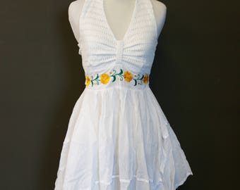 Vintage White, Yellow and Green Mexican Halter Top Lace/ Embroidery Dress-Hippie/Bohemian/Senorita Style