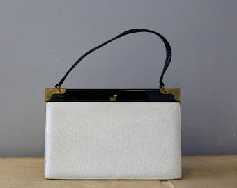 "Vintage Black and White Purse ""Leon's"" by NICHOLAS REICH Handbag- Gold Frame"