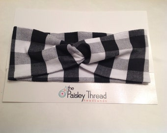 2-in-1 Cotton Turban Twist Headband in Black & White Buffalo Plaid
