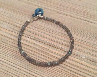 """Faceted labradorite bead bracelet~druzy agate solar geode petite accent charm. 7"""""""