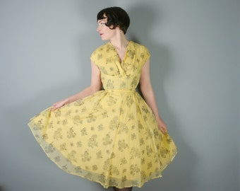 YELLOW chiffon 50s dress with FLOCKED black paisley and HEART leaf print - 1950s Mid Century party dress - S
