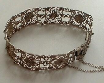 Filigree silver panel bracelet