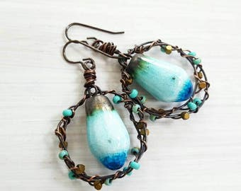 Ceramic drop earrings - wire wrapped earrings - copper hoop earrings-  aqua blue earrings