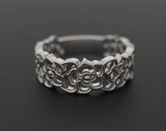 Silver Flower Wedding  Ring