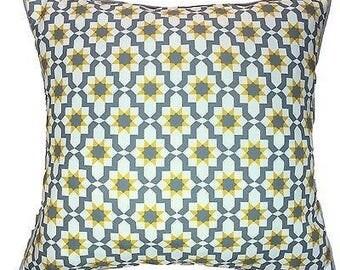"Grey & Yellow Mustard Diamond Tiles Geometric Pattern Design Moroccan Cushion Cover 43x43 cm or 17 x 17"""