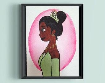 Tiana The Princess and the Frog Disney Princess Original Watercolor Painting